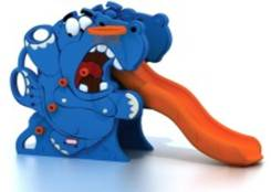 Детское оборуд Горка С2058 пластик Бегемот разинул рот одинарная 150*80*98