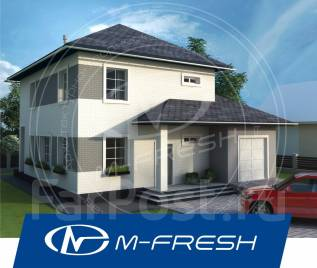 M-fresh Gabriel (Проект 2-этажного дома со встроенным гаражом! Супер! ). 200-300 кв. м., 2 этажа, 4 комнаты, бетон