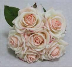 Букет из открытых роз. Силиконовые цветы (искусственные цветы).