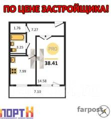 1-комнатная, улица Луговая 70б. Баляева, проверенное агентство, 42 кв.м. План квартиры