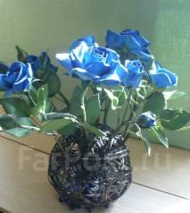 Синие розы, ручная работа
