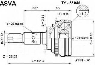 Шрус подвески. Toyota: RAV4, Opa, Allion, Vista Ardeo, Vista, MR-S, Premio, MR2 Двигатели: 1ZZFE, 1AZFSE, 3SFSE