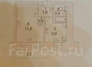 1-комнатная, проспект Интернациональный 15. частное лицо, 22 кв.м. План квартиры