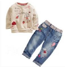 Комплект на девочку джинсы и кофта. Рост: 80-86, 86-98 см