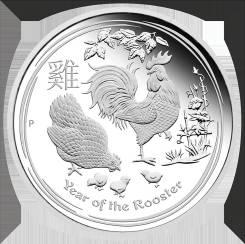 Серебро 1/2 унции - Австралия 50 центов 2017 - Год Петуха. Под заказ
