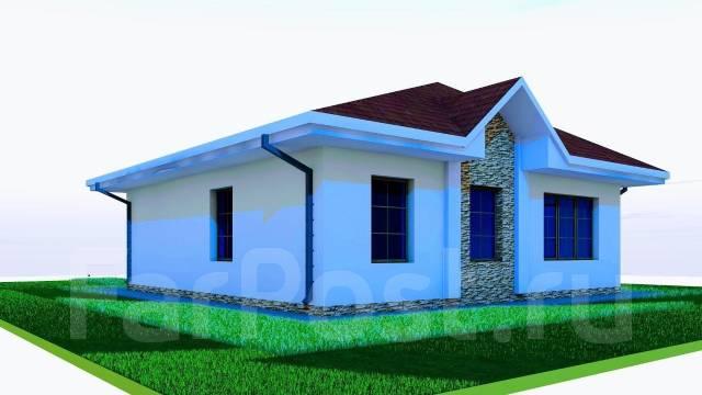 03 Zz Проект одноэтажного дома в Долгопрудном. до 100 кв. м., 1 этаж, 4 комнаты, бетон