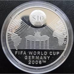 10 долларов.2007г. Науру. ЧМ по футболу в Германии. Серебро. Proof.
