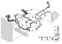 Патрубок радиатора. BMW X5, E70 Двигатель N52B30