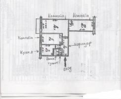 3-комнатная, улица Белашева 16. частное лицо, 59кв.м. План квартиры