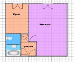 1-комнатная, улица Ватутина 2. 64, 71 микрорайоны, агентство, 36 кв.м. План квартиры