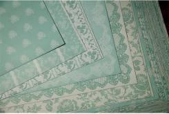 Набор бумаги для скрапбукинга в зеленых тонах. Под заказ