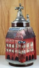 Винтажная коллекционная пивная кружка с оловянной крышкой. От GERZ