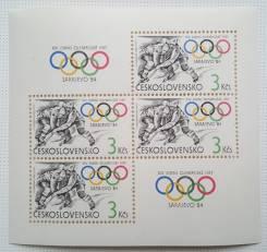 1984 Чехословакия. Спорт. ОИ в Сараево. Блок Чистый