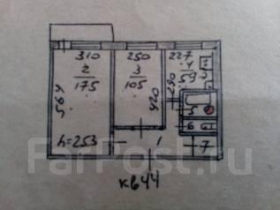 2-комнатная, п.Таёжный. Надеждинский р-он, частное лицо, 44 кв.м.