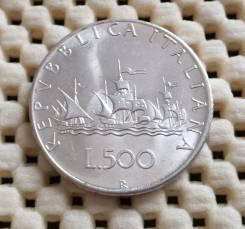 Италия 500 лир 1967г. Ag 835 11,0гр UNC Штемпельный блеск