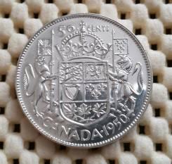 Канада 50 центов 1950г. Ag 800 11,66гр. UNC Штемпельный блеск
