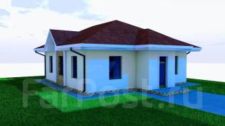 03 Zz Проект одноэтажного дома в Кусе. до 100 кв. м., 1 этаж, 4 комнаты, бетон