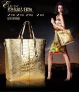 Шикарная большая золотая сумка+клатч в одном комплекте, торги с 1 руб!