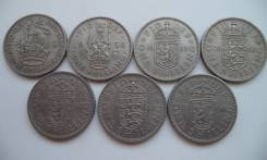 Великобритания, 1 шиллинг - Лот - 7 монет
