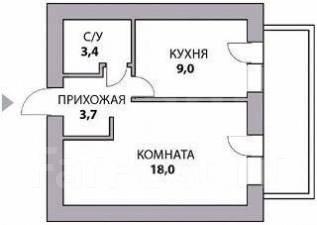 1-комнатная, улица Суворова 12. октябрьский, агентство, 34 кв.м.