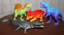 Набор динозавров 3шт+ крокодил. Супер! с 1р
