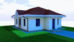 03 Zz Проект одноэтажного дома в Абакане. до 100 кв. м., 1 этаж, 4 комнаты, бетон