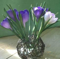 Крокусы (из фоамирана), в ротанговом шаре, ручная работа