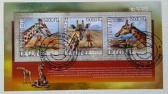 2014 Гвинея. Жирафы. Блок Гашеный