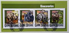 2015 Гвинея-Бисау. Носороги. Блок. Гашеный