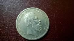 5 марок 1874 F Германия Вюртемберг серебро коллекционный сохран !