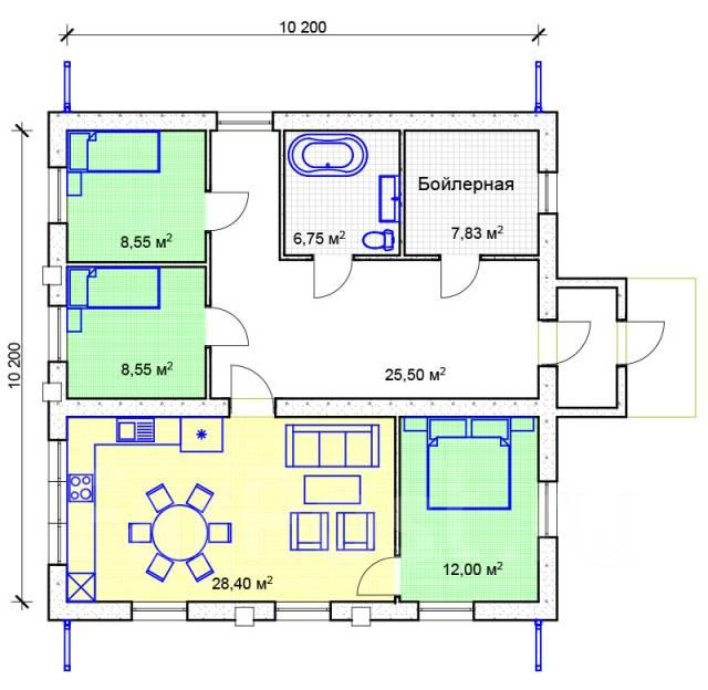 03 Zz Проект одноэтажного дома. до 100 кв. м., 1 этаж, 4 комнаты, бетон