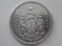 Канада 50 центов 1965 г. Серебро. Торги с 1 рубля!