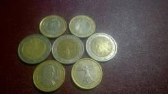 10 Евро : 2 евро 3 шт + 1 евро -4 шт все Разные ! 7 монет !