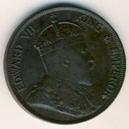 Старый колониальный Гонконг! Редкий 1 цент 1902 года в сохране в профе