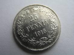 Серебро! Отличная! 25 Пенни 1916 год (S) Россия на Финляндию 24