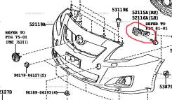 Крепление бампера. Toyota Corolla, ZRE151, ZRE152, CE140, ZZE141, NZE141, ZZE150, AZE141, ADE150, NDE150, ZRE142, ZZE142 Двигатели: 1ZRFE, 2AZFE, 1ZZF...