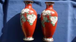 Две старинные вазы Клуазоне (Cloisonne). Япония, период Мэйцзи. 19 в. Оригинал