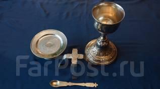 Старинный Евхаристический набор из четырех предметов: Россия, XIX век. Оригинал