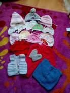 Шапочки и жилетки на лялю с рождения до полугода - торги с рубля. Рост: 50-60, 60-68 см
