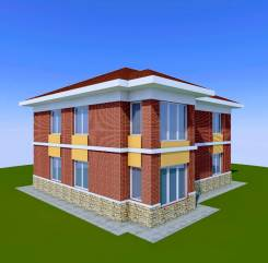 046 Z Проект двухэтажного дома в Пятигорске. 100-200 кв. м., 2 этажа, 6 комнат, бетон