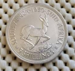 ЮАР 5 шиллингов 1950г. UNC. Ag800 28,28гр Штемпельный блеск