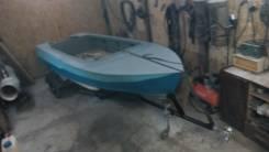 Лодка дюраливая мкм с телегой. длина 4,00м., двигатель подвесной