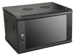 """Распределительный шкаф 19"""", """"Linkbasic"""", настенный, 6U, черный, стеклянная дверь (600х450х367, вес 20,5кг)"""