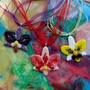 """Кулон """"Орхидея"""" украшение из стекла"""