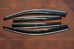 Ветровики с молдингом из нержавейки Touareg II 2010- наст. Volkswagen Touareg, 7P5 Двигатели: CGNA, CJMA, CASA, CNRB, CGFA, CRCA, CGEA, CASD, CJGD, CG...