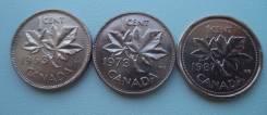 Канада, 1 цент 1963 + 1 цент 1973 + 1 цент 1987