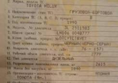 Toyota Hilux. Продам документы