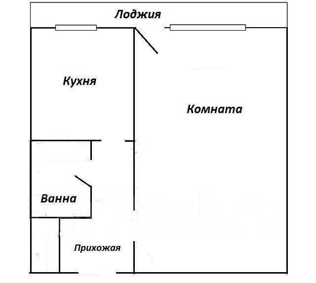 1-комнатная, проспект 100-летия Владивостока 46а. Столетие, 34кв.м. План квартиры