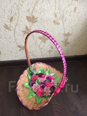 Корзина с цветами из лент