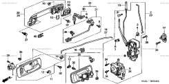Замок двери. Honda: Avancier, Torneo, Lagreat, Inspire, S2000, MDX, Accord, Saber, Odyssey, Insight Двигатели: F20C2, F20C1, J30A2, F23A2, F20B5, F20B...